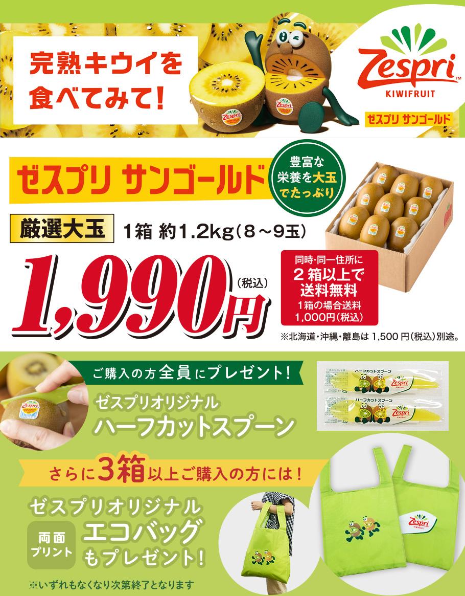 ご購入の方全員にゼスプリオリジナルハーフカットスプーンをプレゼント!さらに3箱以上ご購入の方にはゼスプリオリジナルエコバッグをプレゼント!CMで話題のゼスプリさんゴールド、完熟キウイを食べてみて!とっぺん市場厳選大玉1箱約1.2kg(8~9玉)1,990円(税込)