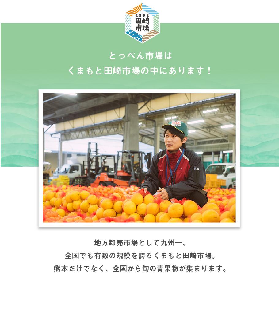 とっぺん市場はくまもと田崎市場の中にあります!地方御売市場として九州一、全国でも有数の規模を誇るくまもと田崎市場。熊本だけではなく、全国から旬の青果物が集まります。
