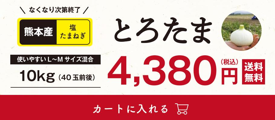 なくなり次第終了!熊本産塩たまねぎ「とろたま」10kg(40玉前後)税込4,380円、送料無料