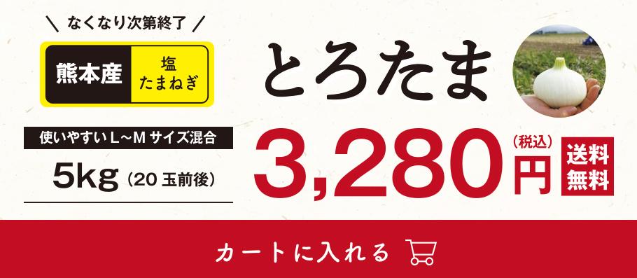 なくなり次第終了!熊本産塩たまねぎ「とろたま」5kg(20玉前後)税込3,280円、送料無料